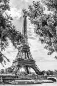 Eiffel tower between the trees — Stockfoto