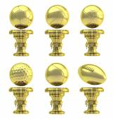 Award sport trophy cup set isolated — Stock Photo
