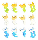 Four currency signs in crown set — Stockfoto