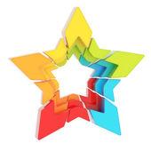 Streszczenie gwiazda podzielonych na białym tle — Zdjęcie stockowe