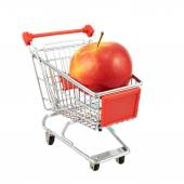 Red apple in shipping cart — Stock Photo