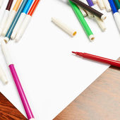 Paper with pen markers — Stock Photo