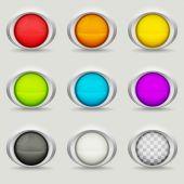 Nove pulsanti rotondi — Vettoriale Stock