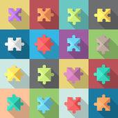 Multiple puzzle pieces — Vector de stock