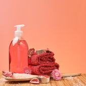 Soap, towel and aromatic salt — Stock Photo