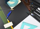 Multiple writing accessories and stationery items — Stock Photo