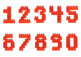 Set of numbers made of toy bricks — Stockfoto