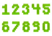 Set of numbers made of toy bricks — Stock Photo