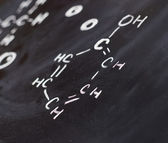 Blackboard with chemistry structures — Stock Photo