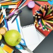 Desk covered with multiple stationery — Stock Photo #56472797