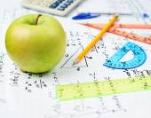 Studying math, back to school composition — Stock Photo