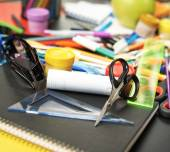Desk covered with multiple stationery — Fotografia Stock