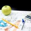 Постер, плакат: Studying math back to school composition