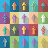 Multiple flat style arrow icons — Stock Vector