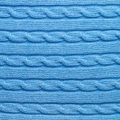 Knitted blue material fragment — Stock Photo