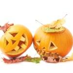 Two Jack-o'-lanterns pumpkin heads — Stock Photo #59312585
