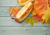 Orange pumpkin and leaves — Stock Photo