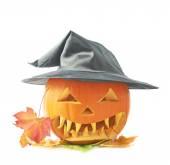 Pumpkin head in hat — Stock Photo