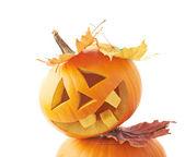 Orange pumpkin head — Stock Photo
