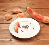Slices of eaten watermelon — Stock Photo