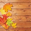 Maple leaves over the wooden boards — Stock Photo #61683197