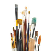 Multiple different brushes placed vertically — Stock Photo