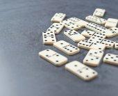 Multiple domino bones composition — Stockfoto