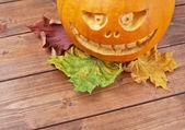 Scary jack o lantern pumpkin composition — Stock Photo