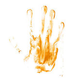 Hand palm oil paint print — Stock Photo