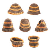 Brown knitted head cap isolated — Stock Photo