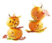 Two Jack-o-lanterns pumpkin heads — Stock Photo