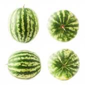 Ripe green watermelon fruit isolated — Stock Photo