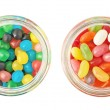 Two jars full of different kinds of candies — Stock Photo #63382207