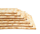 Multiple matza flatbreads lying one over another — Stock Photo