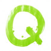 Oil  hand drawn letter Q — Stock Photo