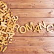 Word romance made with wooden letters — Stock Photo #67509781