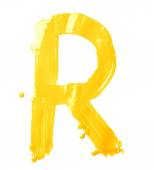 Hand drawn with the oil letter R — Stock Photo