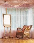 Sedia a dondolo in legno cavalletto e vimini — Foto Stock
