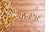 Word vision made with wooden letters — Stock Photo