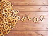 Word blog made with wooden letters — Stock Photo