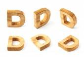 Six block wooden letters D — Stockfoto