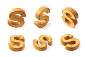 Six block wooden letters S — Stock Photo