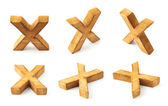 Six block wooden letters X — Stock Photo
