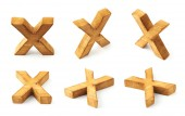 Six block wooden letters X — Stockfoto