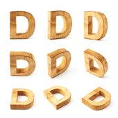 Nine block wooden letters D — Stockfoto