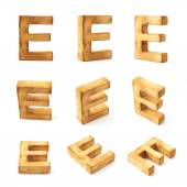 Nine block wooden letters E — Photo