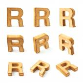 Nine block wooden letters R — Stock Photo