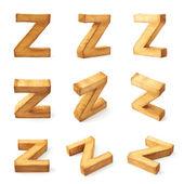 Εννέα μπλοκάρει ξύλινα γράμματα Ω — Φωτογραφία Αρχείου