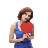 Explotación rojo corazón de mujer — Foto de Stock