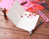 Making valentine card — Stock Photo